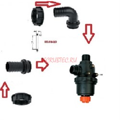 Фильтр всасывающий A314 с клапаном 150 л/мин; 50 меш;вх.:d=40 mm.(прямой)-вых.:d=40 mm.(90 гр.) - фото 13675