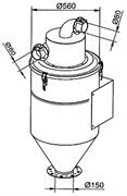 Настенный сепаратор 200 л с выходом для системы выгрузки в мешки Ø 150 мм. Отверстие 80мм