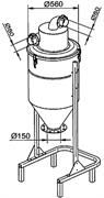 Сепаратор 200 л на шасси с выходом для системы выгрузки в мешки O 150 мм. Отверстие 80мм