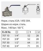 """Кран 2-х ходовой нерж. сталь 140 бар; 80 гр; 1/2""""г-г"""