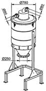 Сепаратор 500 л на шасси с выходом для системы выгрузки в мешки O 250 мм. Отверстие 80мм
