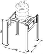 Стойка с шасси для установки бункера-сепаратора 500 л (типа AA 2692) с системой выгрузки в мешки